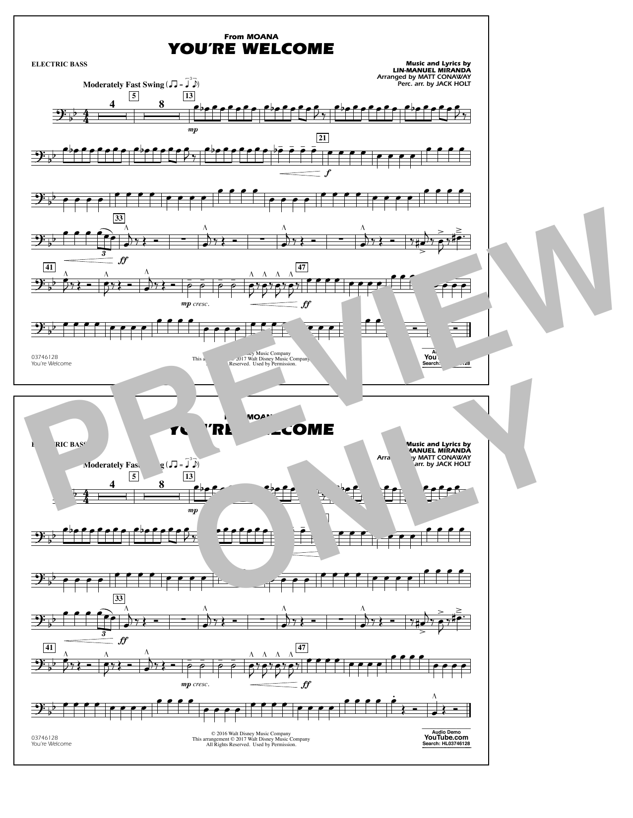 You're Welcome (from Moana) - Electric Bass Sheet Music