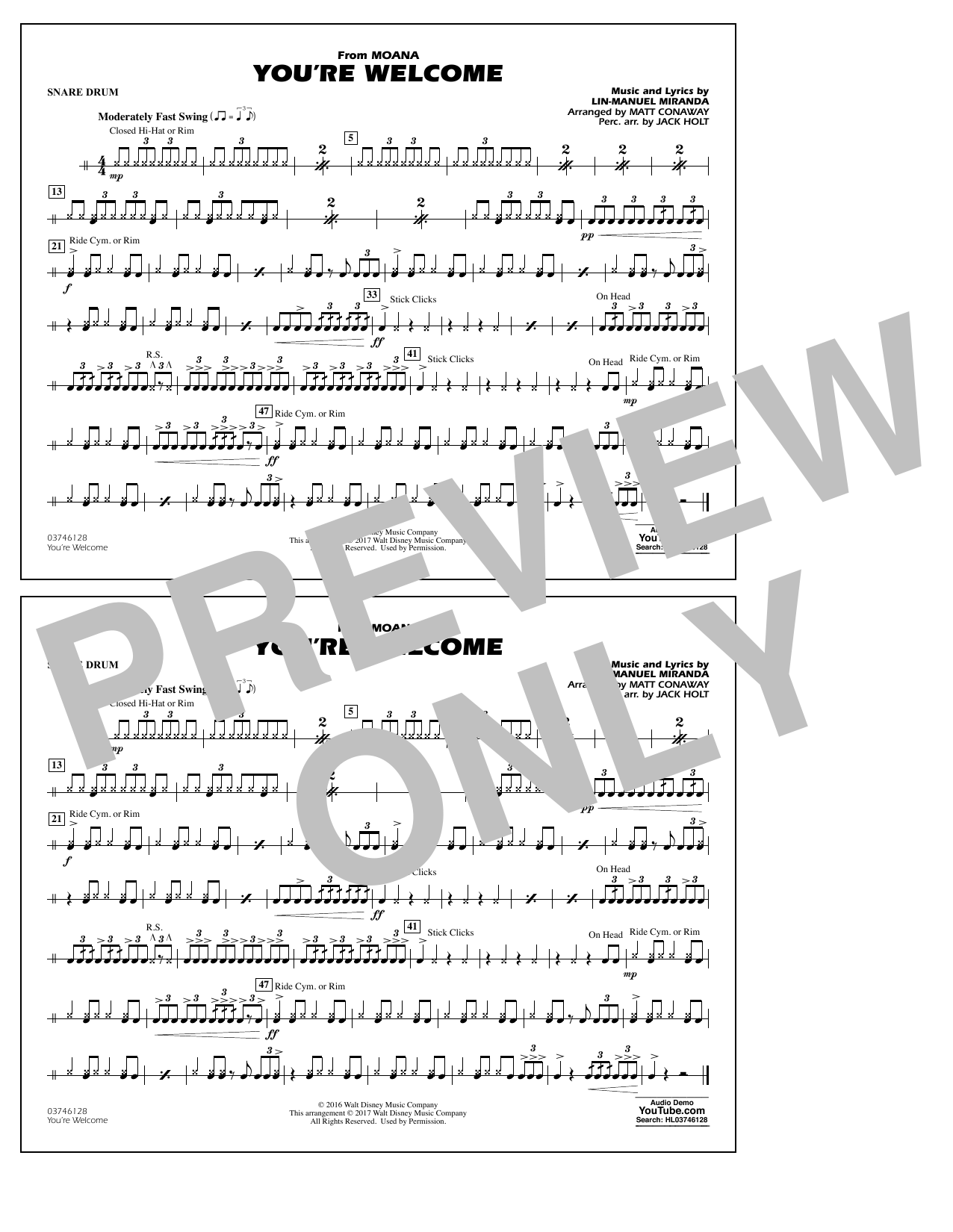 You're Welcome (from Moana) - Snare Drum Sheet Music