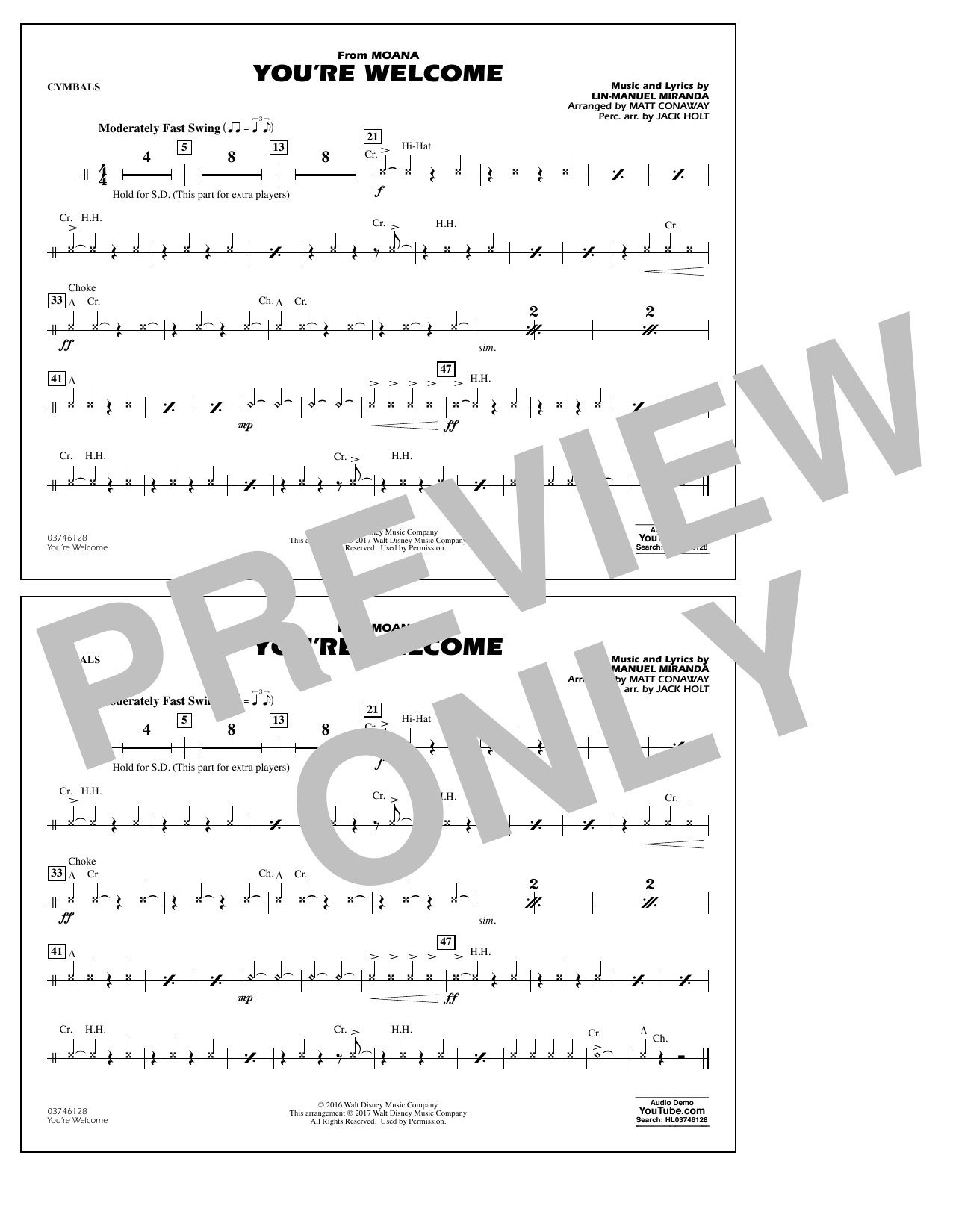 You're Welcome (from Moana) - Cymbals Sheet Music