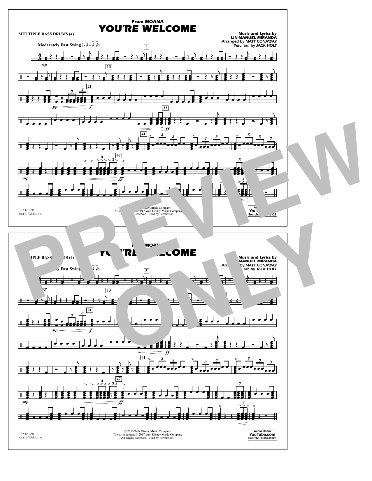 You're Welcome (from Moana) - Multiple Bass Drums Sheet Music