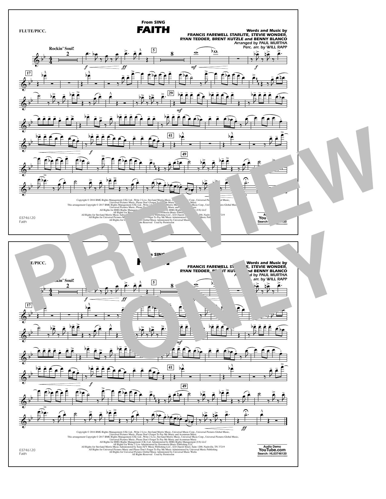 Faith (from Sing) - Flute/Piccolo Sheet Music