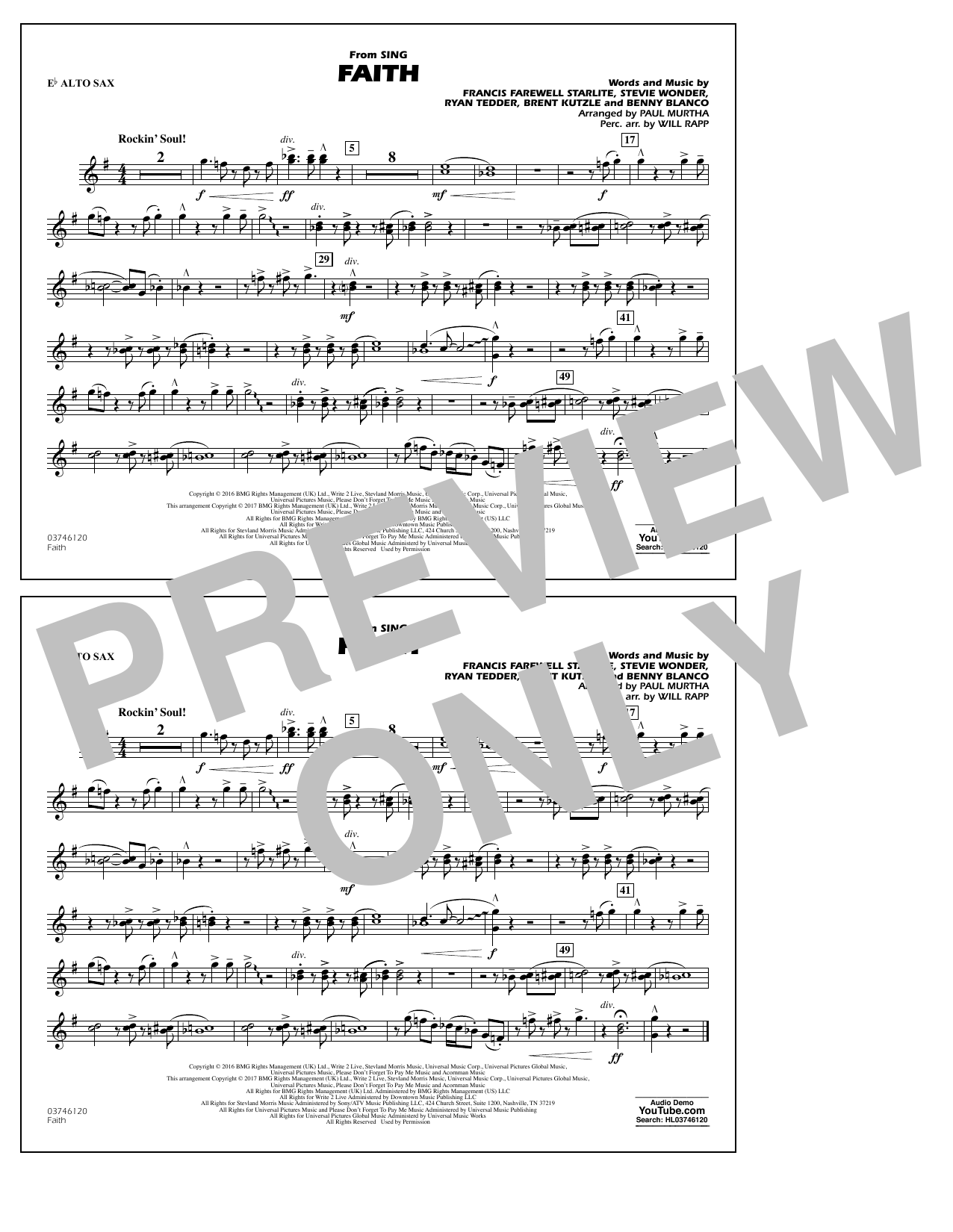 Faith (from Sing) - Eb Alto Sax Sheet Music