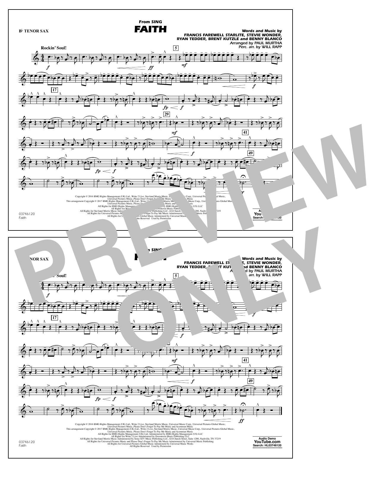 Faith (from Sing) - Bb Tenor Sax Sheet Music