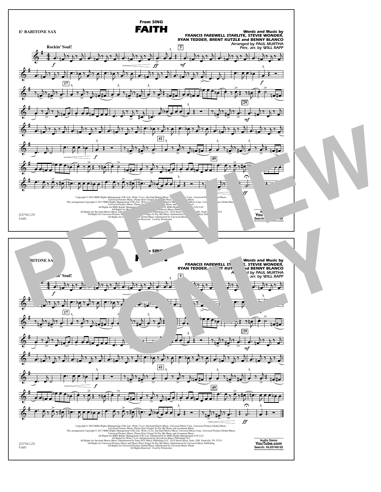 Faith (from Sing) - Eb Baritone Sax Sheet Music