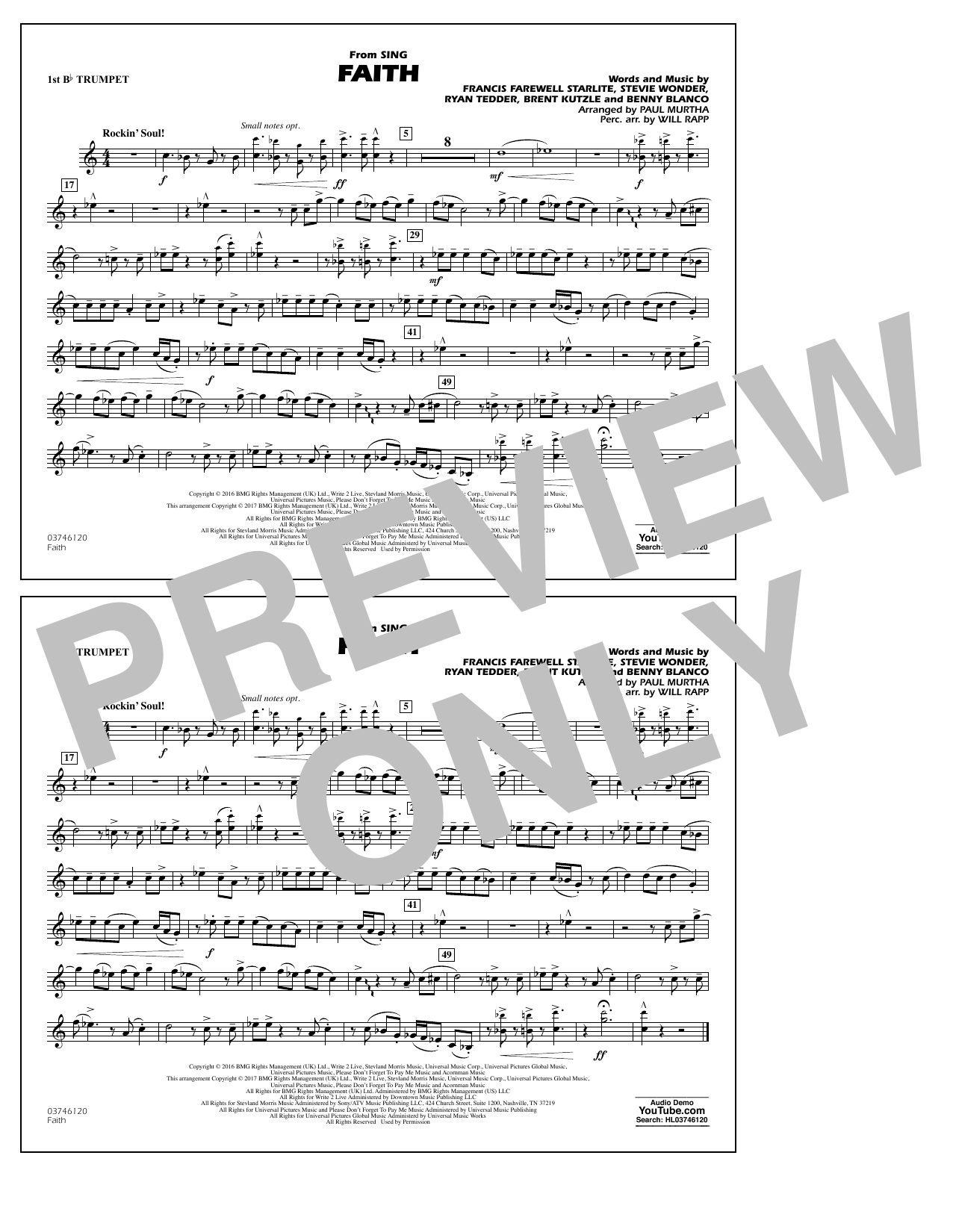 Faith (from Sing) - 1st Bb Trumpet Sheet Music