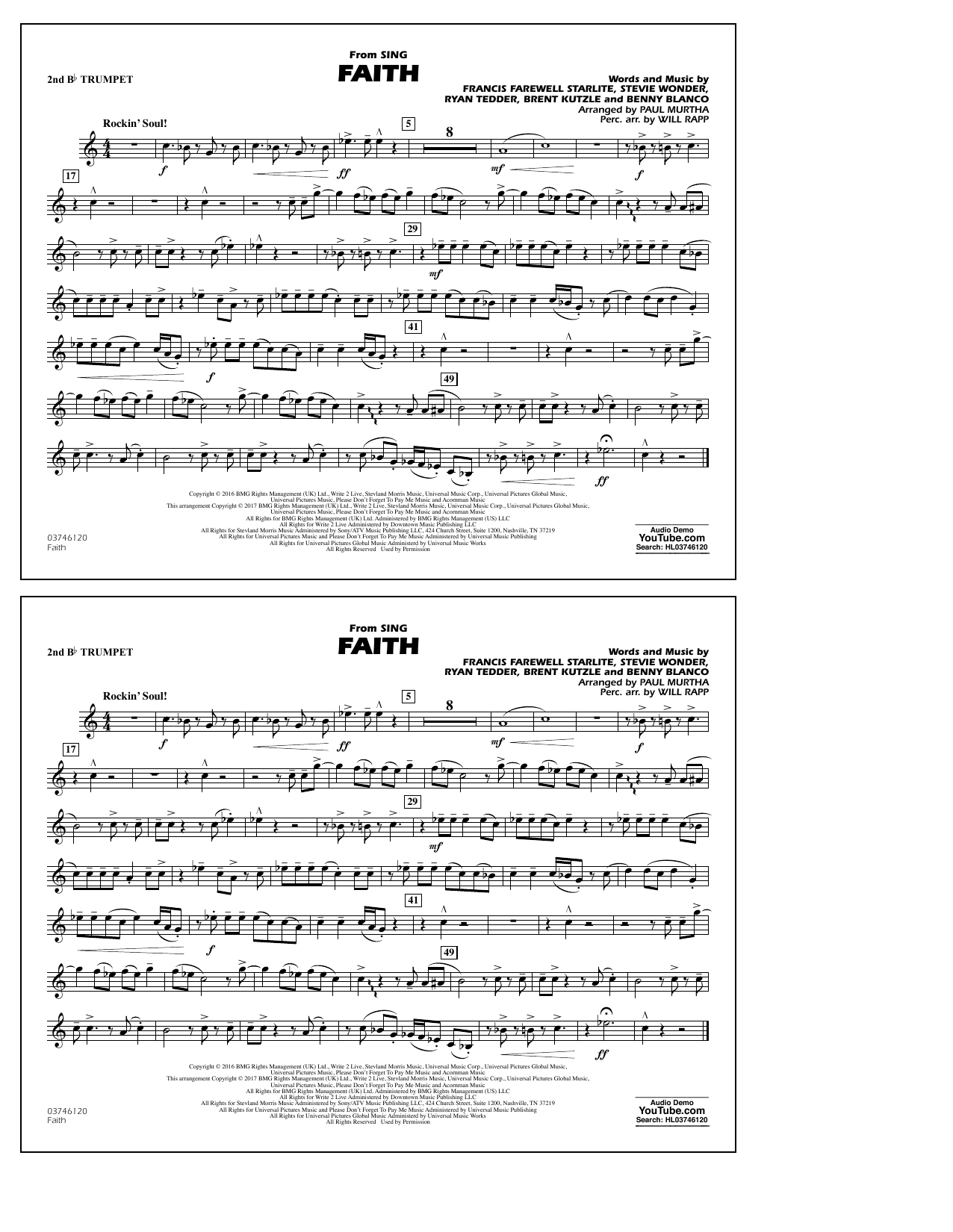 Faith (from Sing) - 2nd Bb Trumpet Sheet Music