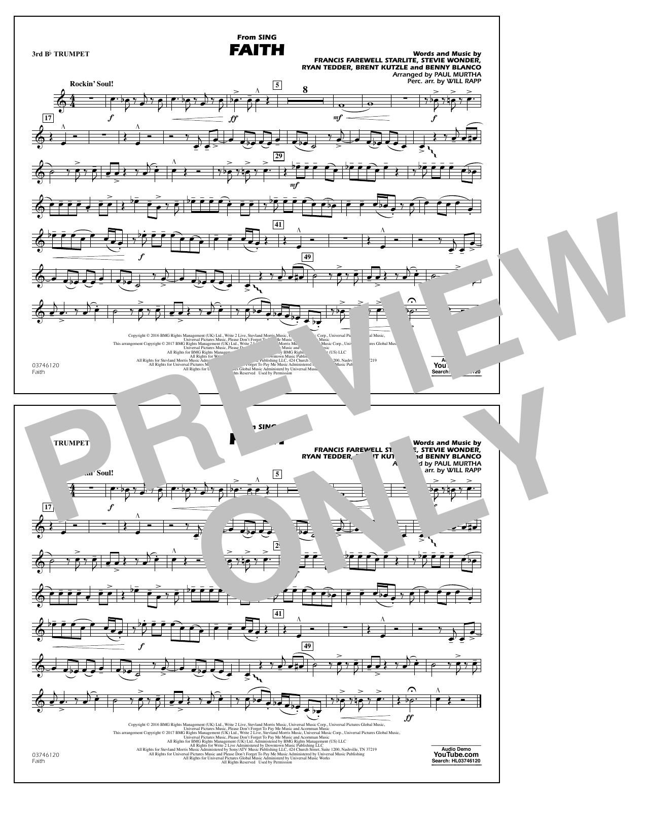 Faith (from Sing) - 3rd Bb Trumpet Sheet Music
