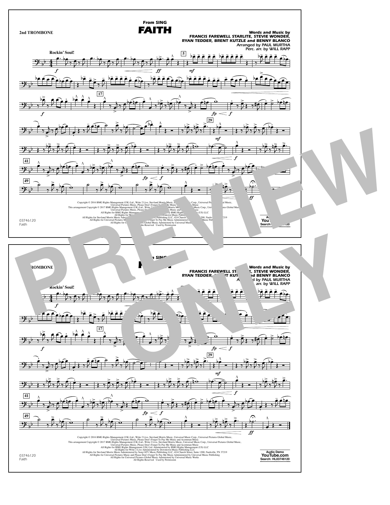 Faith (from Sing) - 2nd Trombone Partition Digitale