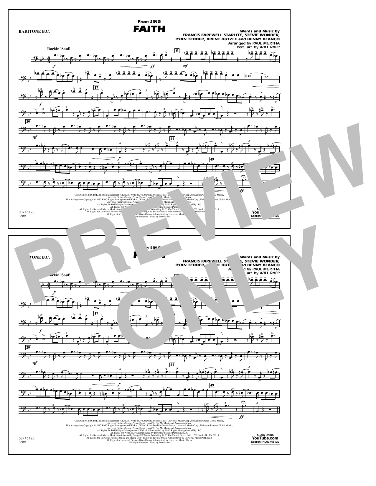 Faith (from Sing) - Baritone B.C. Sheet Music