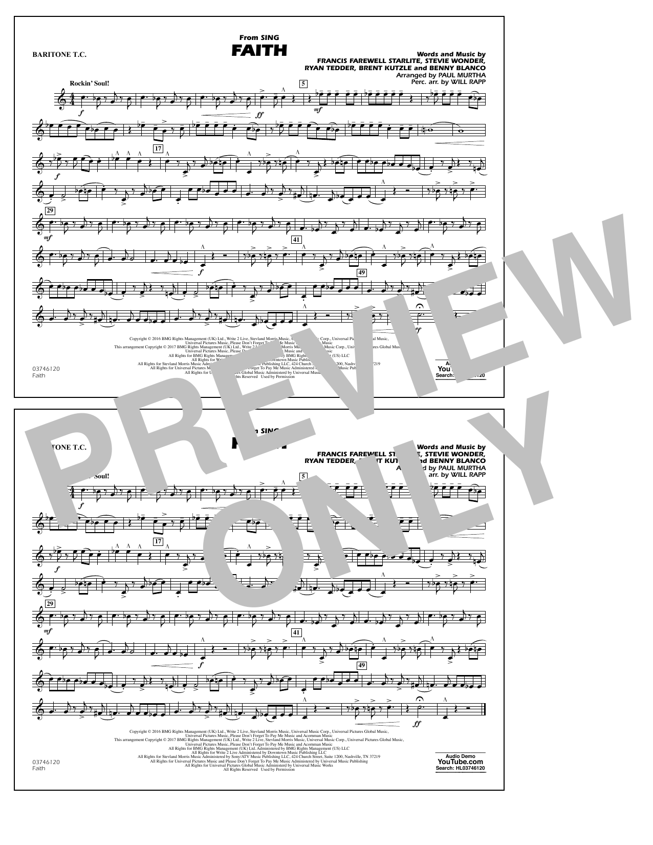 Faith (from Sing) - Baritone T.C. Sheet Music