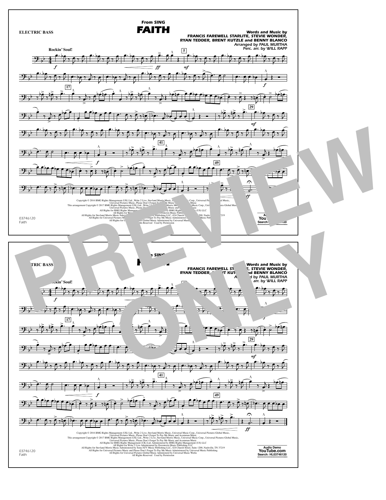 Faith (from Sing) - Electric Bass Sheet Music