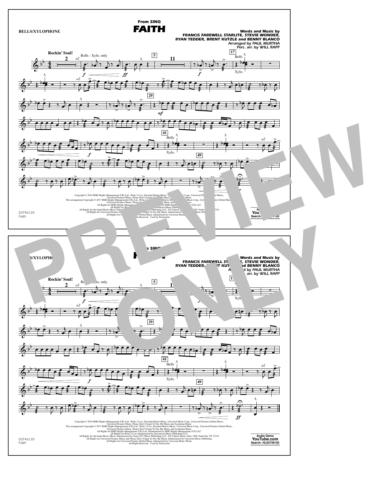 Faith (from Sing) - Bells/Xylophone Sheet Music