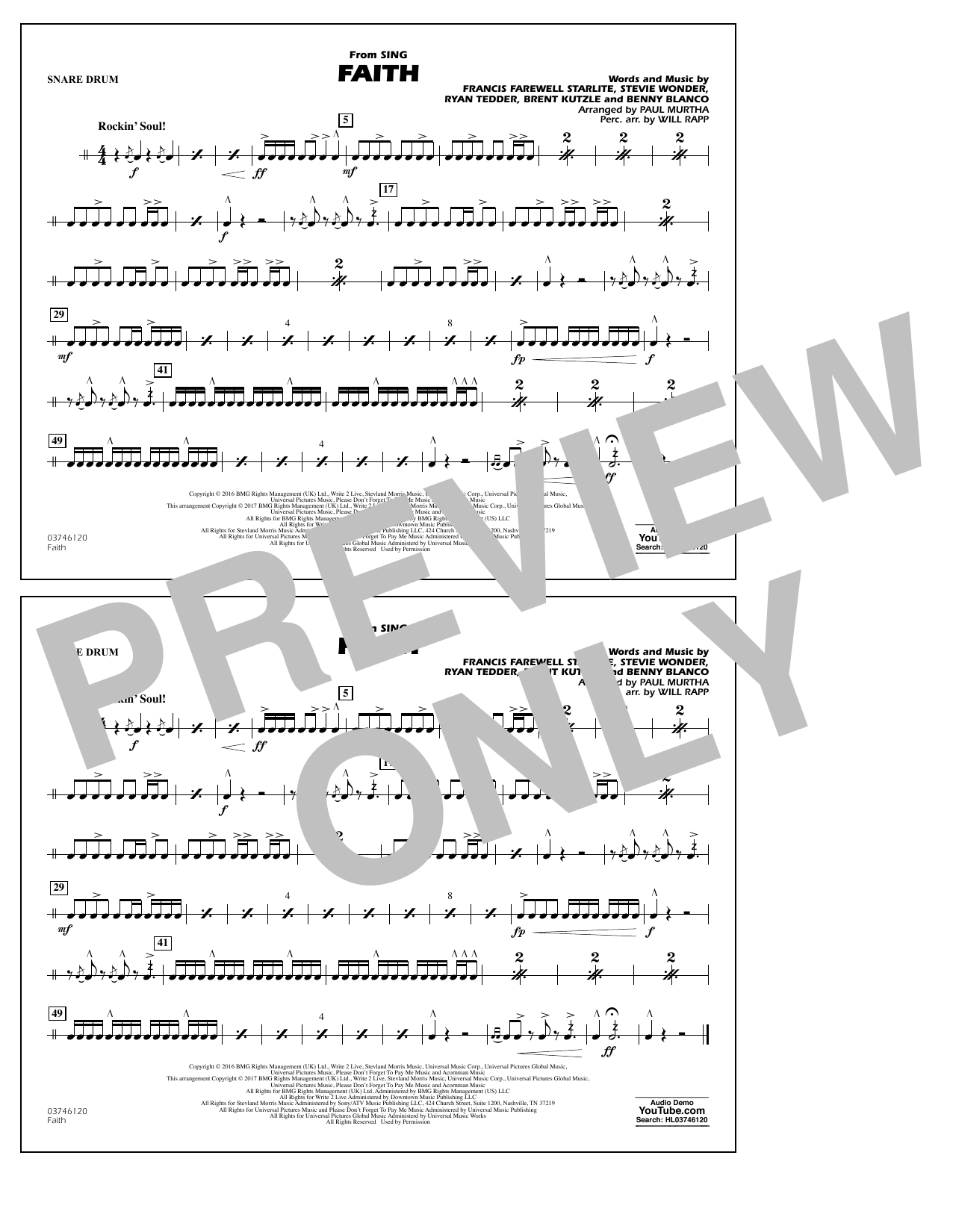 Faith (from Sing) - Snare Drum Sheet Music
