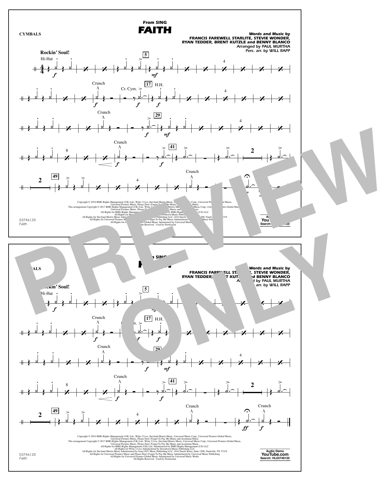 Faith (from Sing) - Cymbals Sheet Music