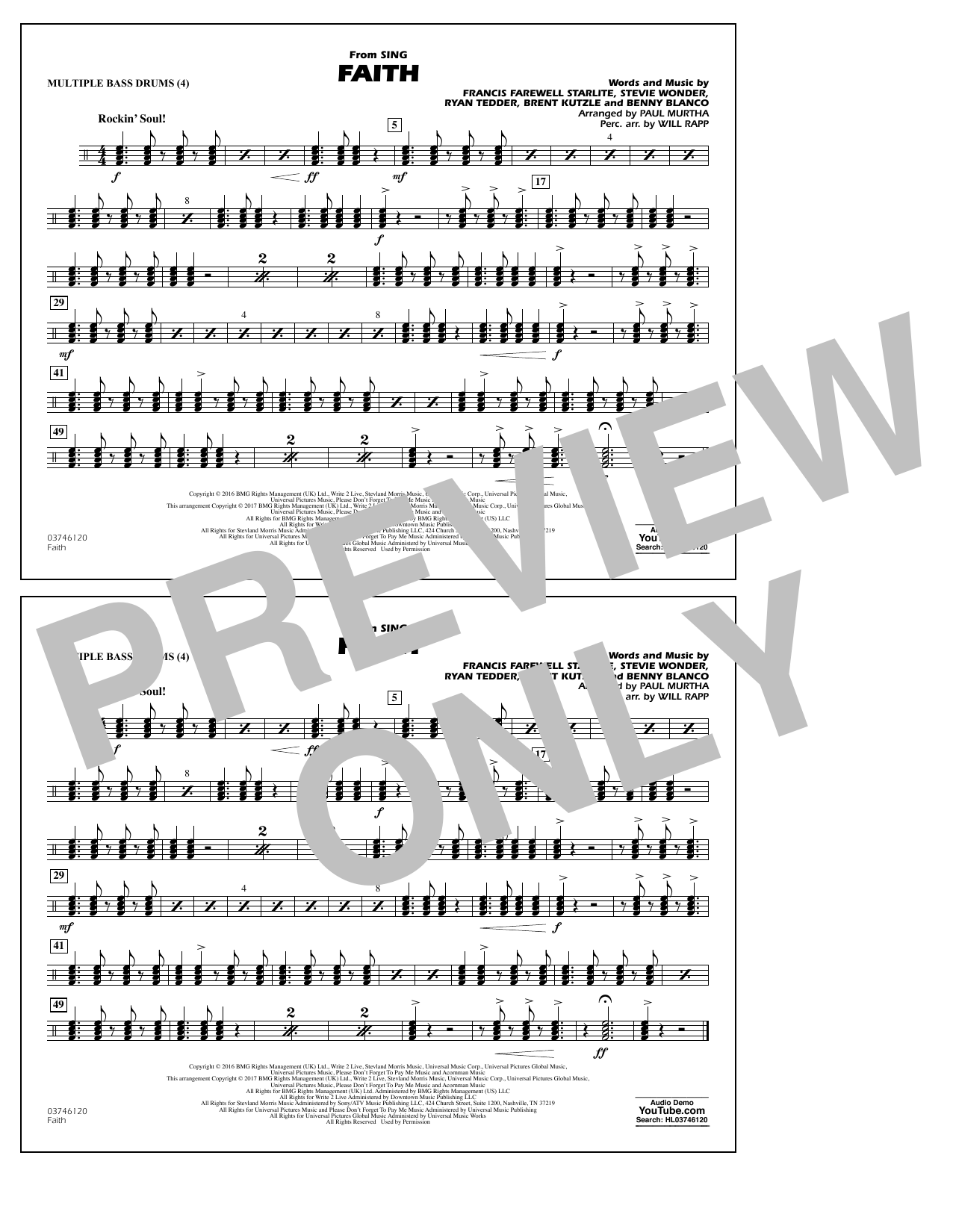 Faith (from Sing) - Multiple Bass Drums Sheet Music