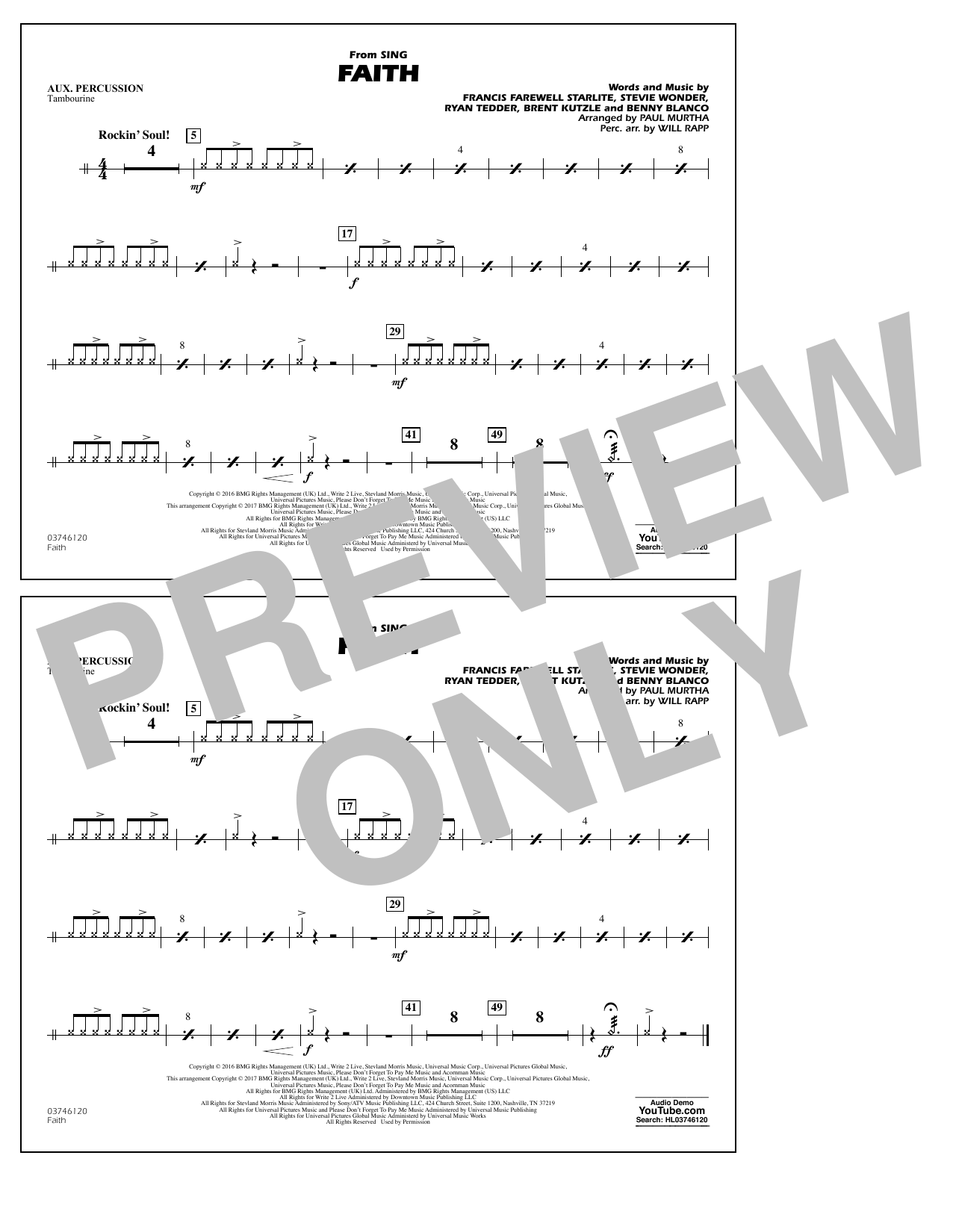 Faith (from Sing) - Aux Percussion Sheet Music