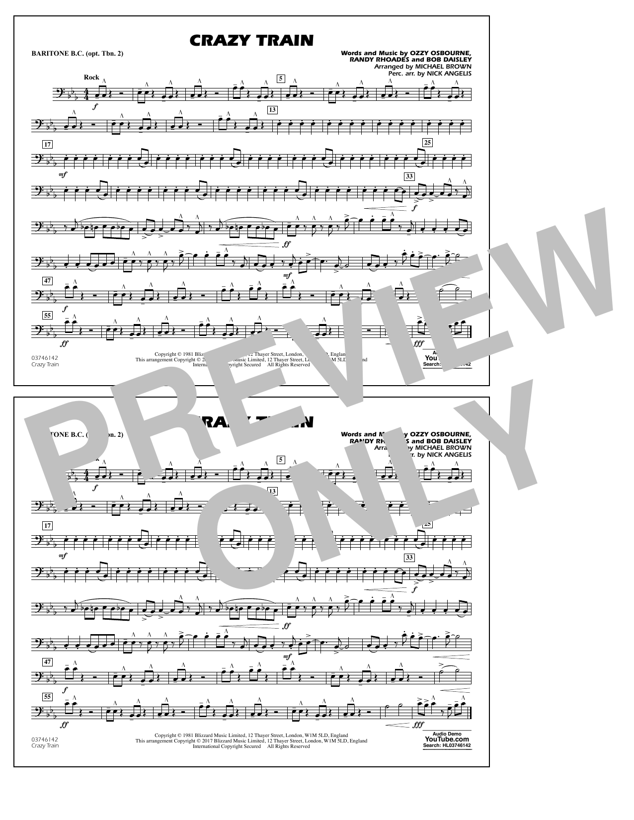 Crazy Train - Baritone B.C. (Opt. Tbn. 2) Sheet Music