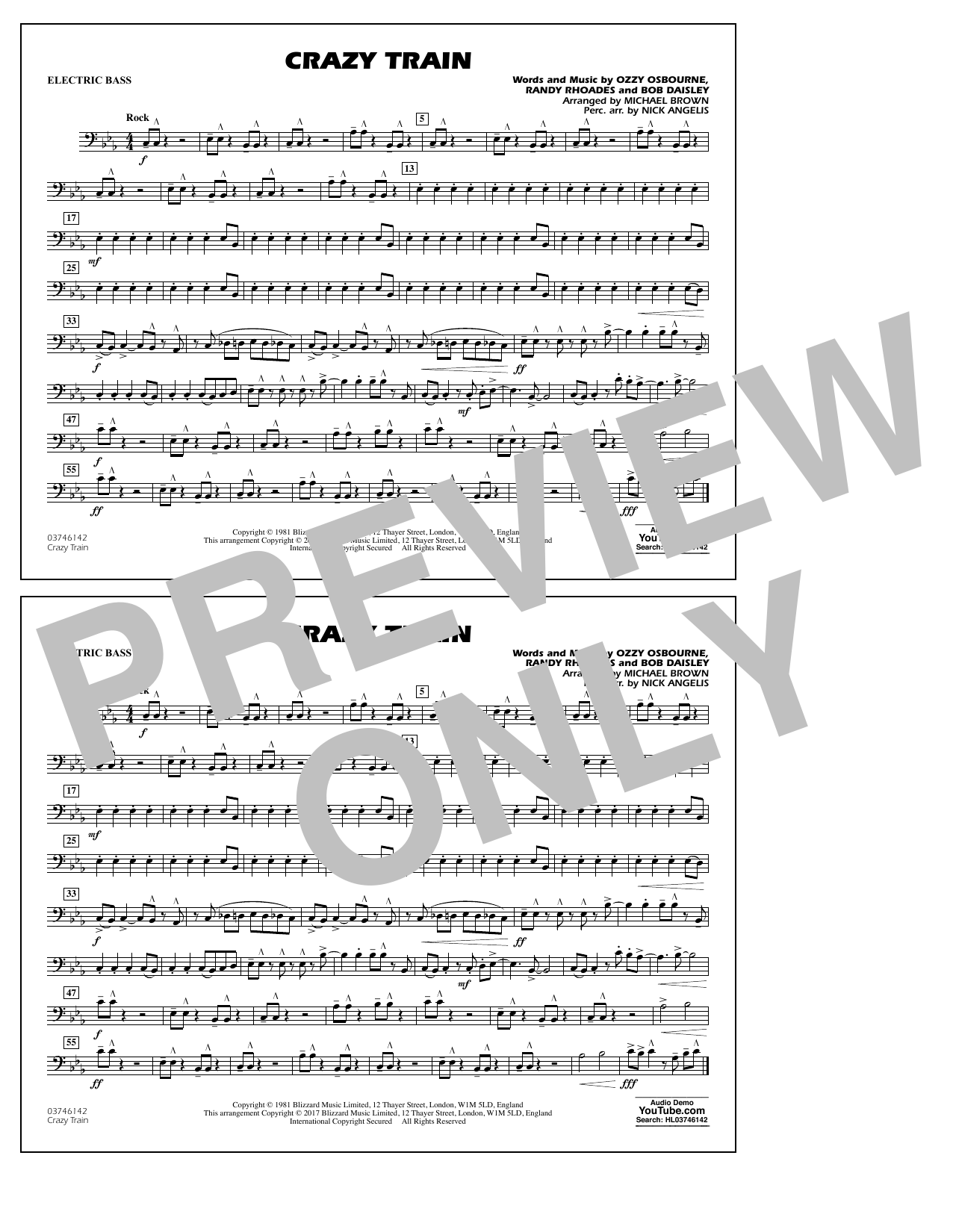 Crazy Train - Electric Bass Sheet Music