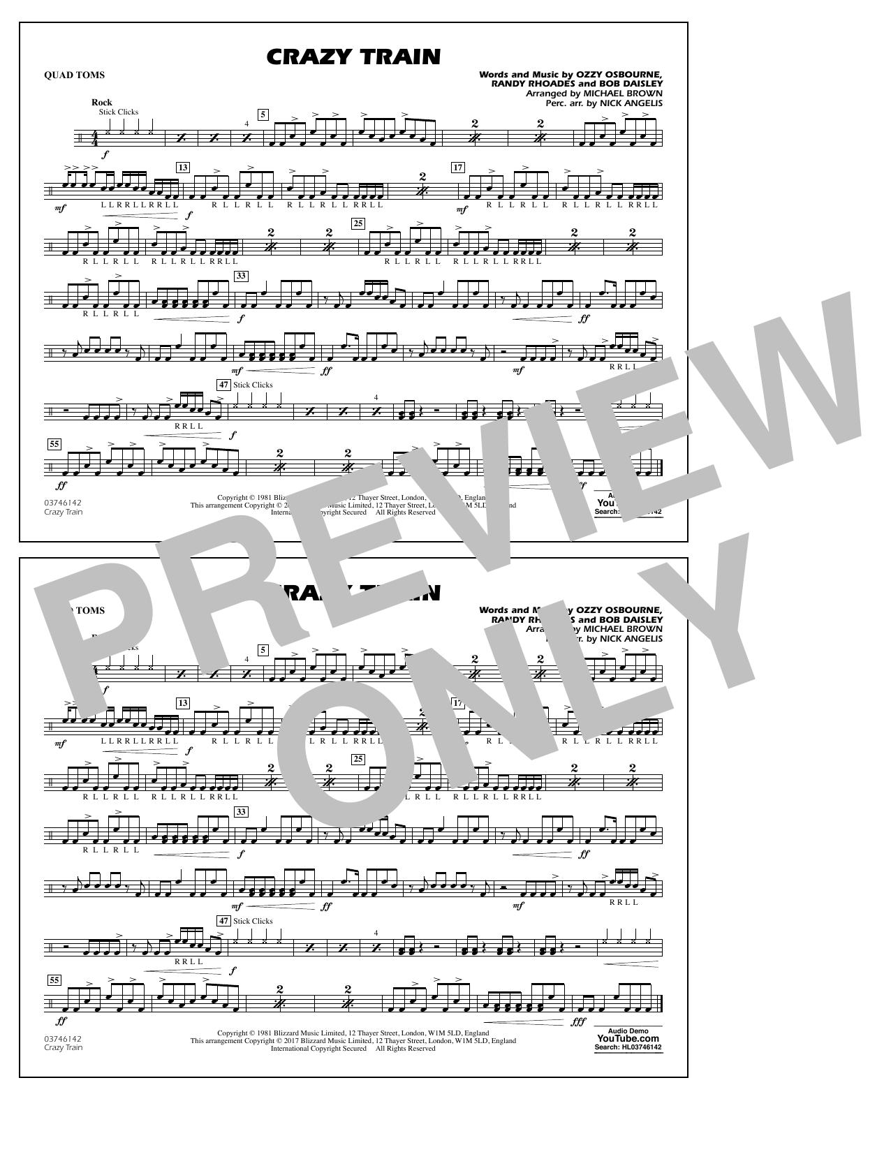 Crazy Train - Quad Toms Sheet Music