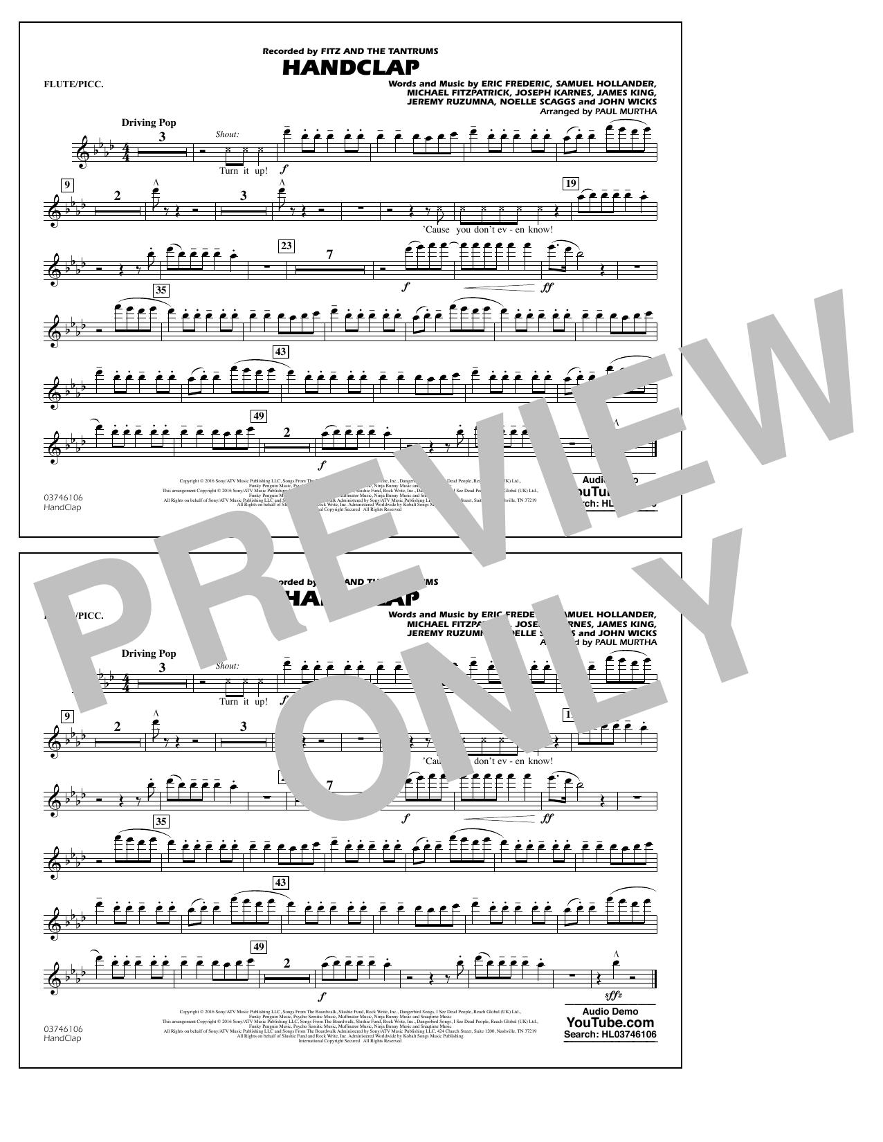 HandClap - Flute/Piccolo Sheet Music