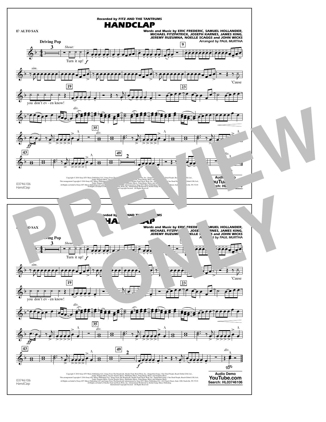 HandClap - Eb Alto Sax Sheet Music