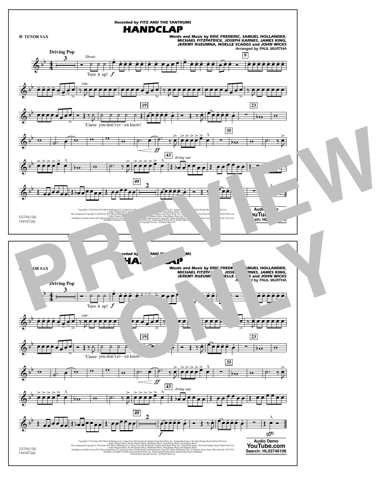 HandClap - Bb Tenor Sax Sheet Music