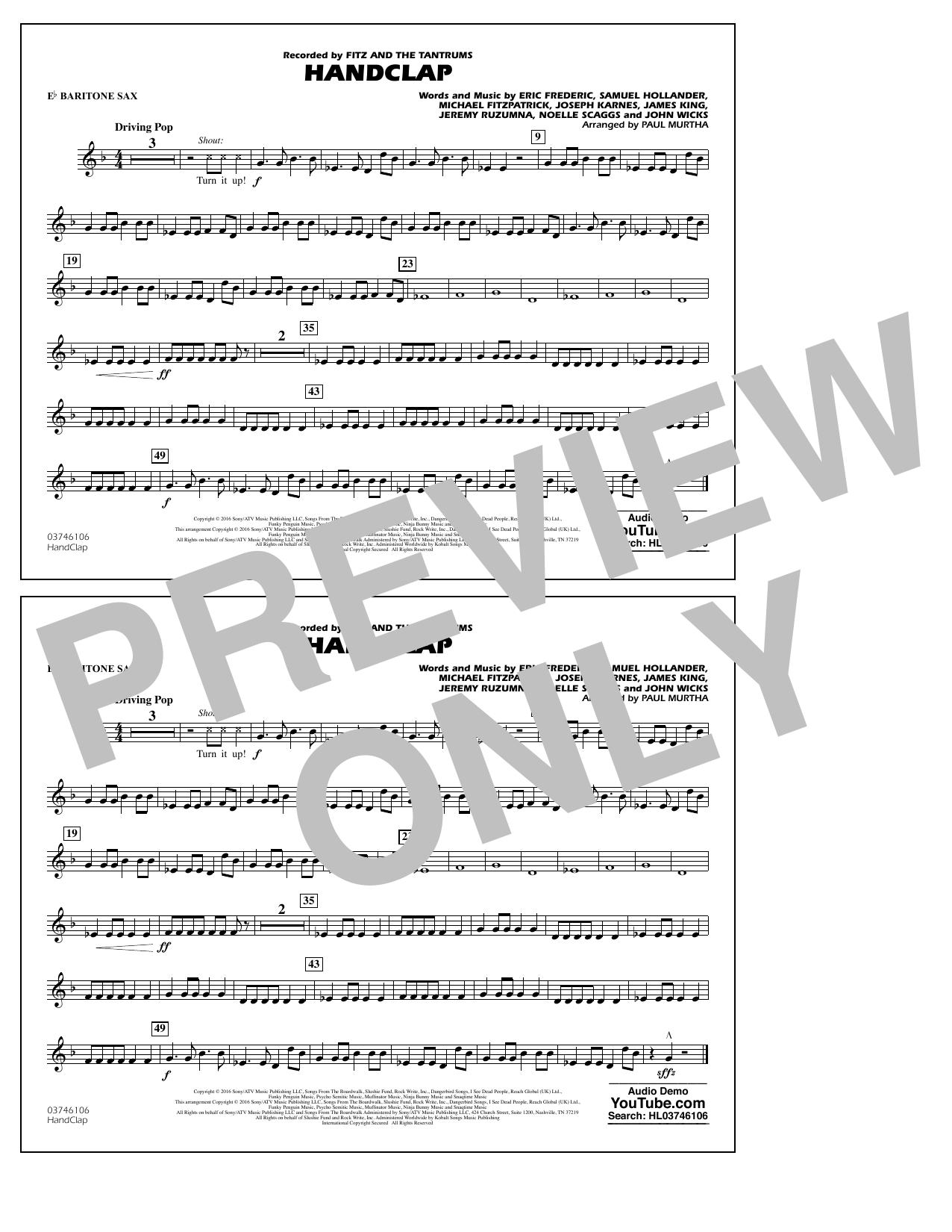 HandClap - Eb Baritone Sax Sheet Music
