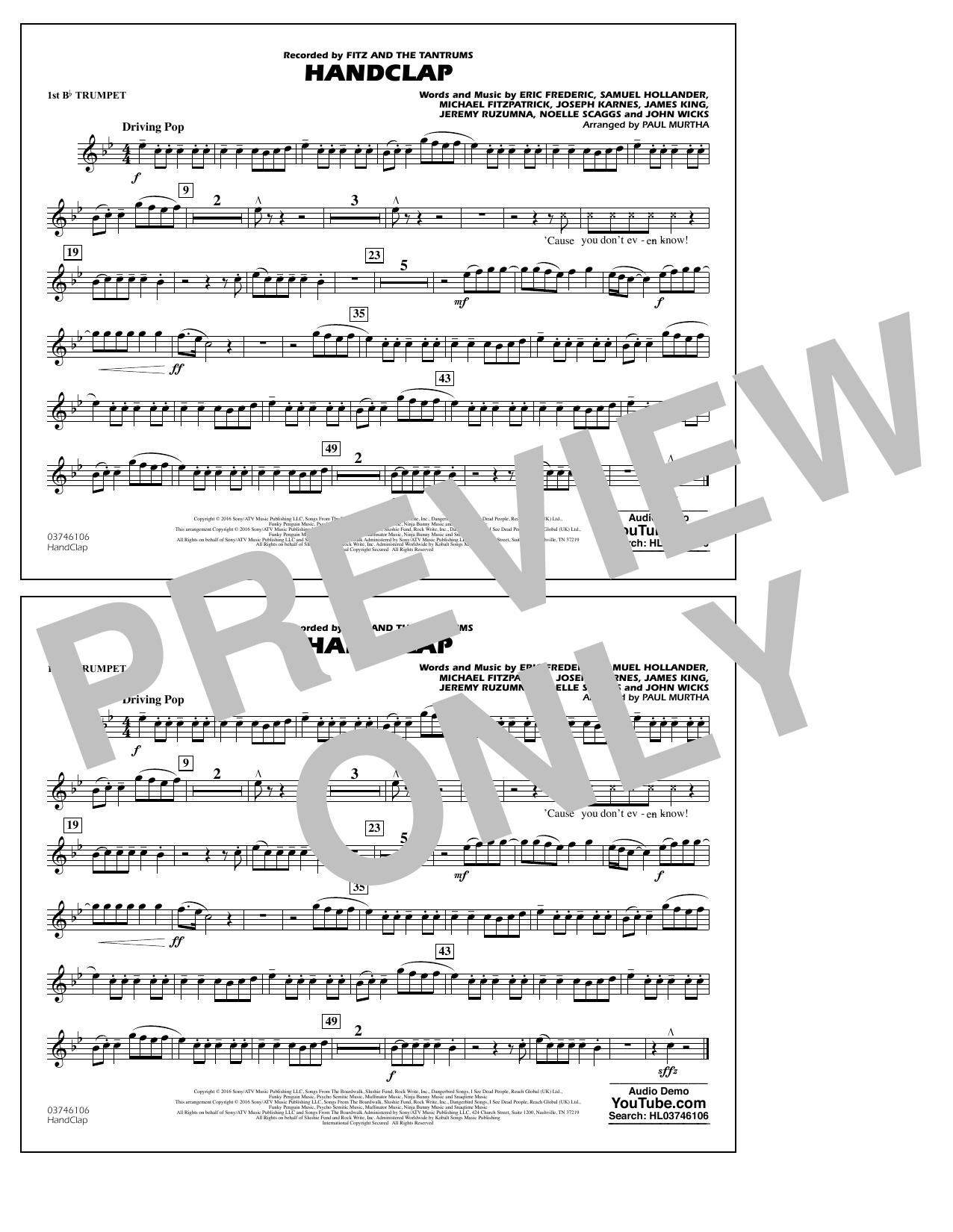 HandClap - 1st Bb Trumpet Sheet Music