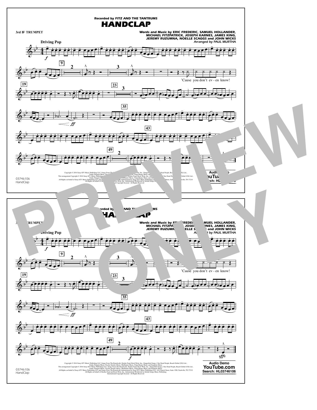 HandClap - 3rd Bb Trumpet Sheet Music