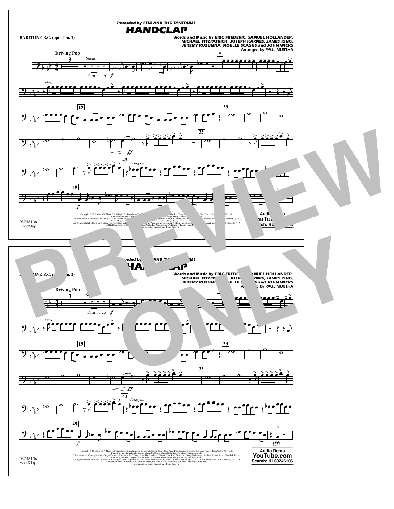 HandClap - Baritone B.C. (Opt. Tbn. 2) Digitale Noten