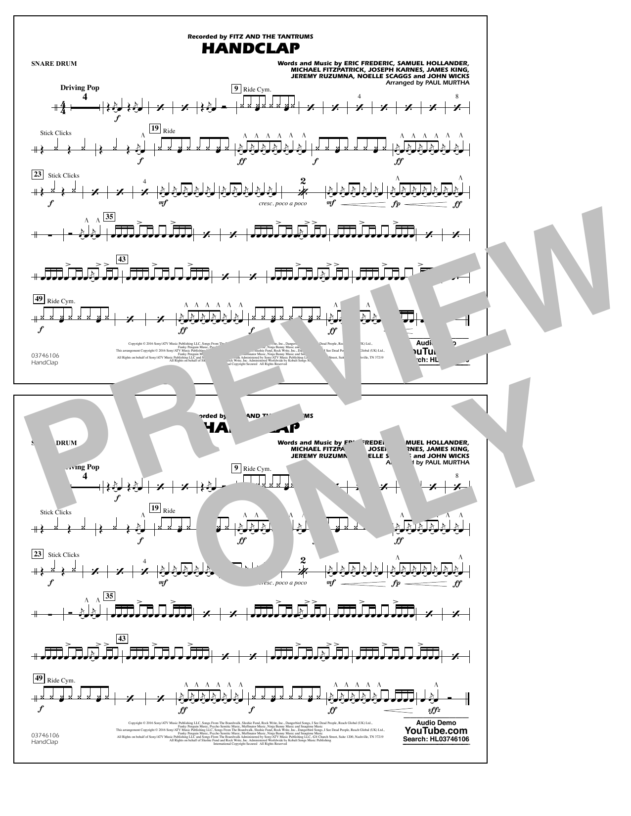 HandClap - Snare Drum Sheet Music