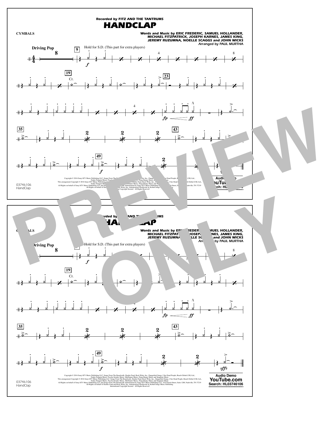 HandClap - Cymbals Sheet Music