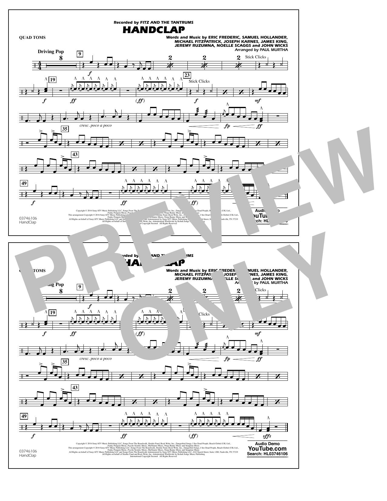 HandClap - Quad Toms Sheet Music