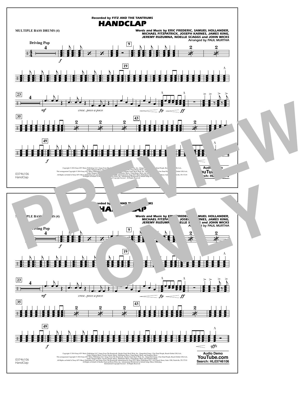 HandClap - Multiple Bass Drums Sheet Music