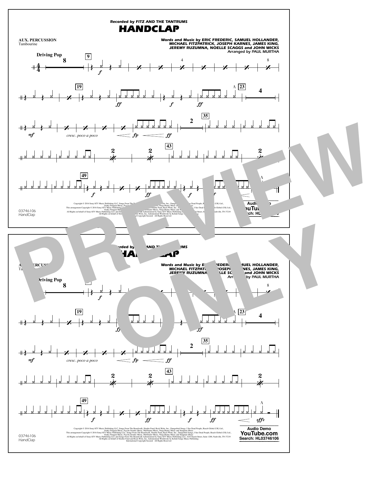 HandClap - Aux Percussion Sheet Music
