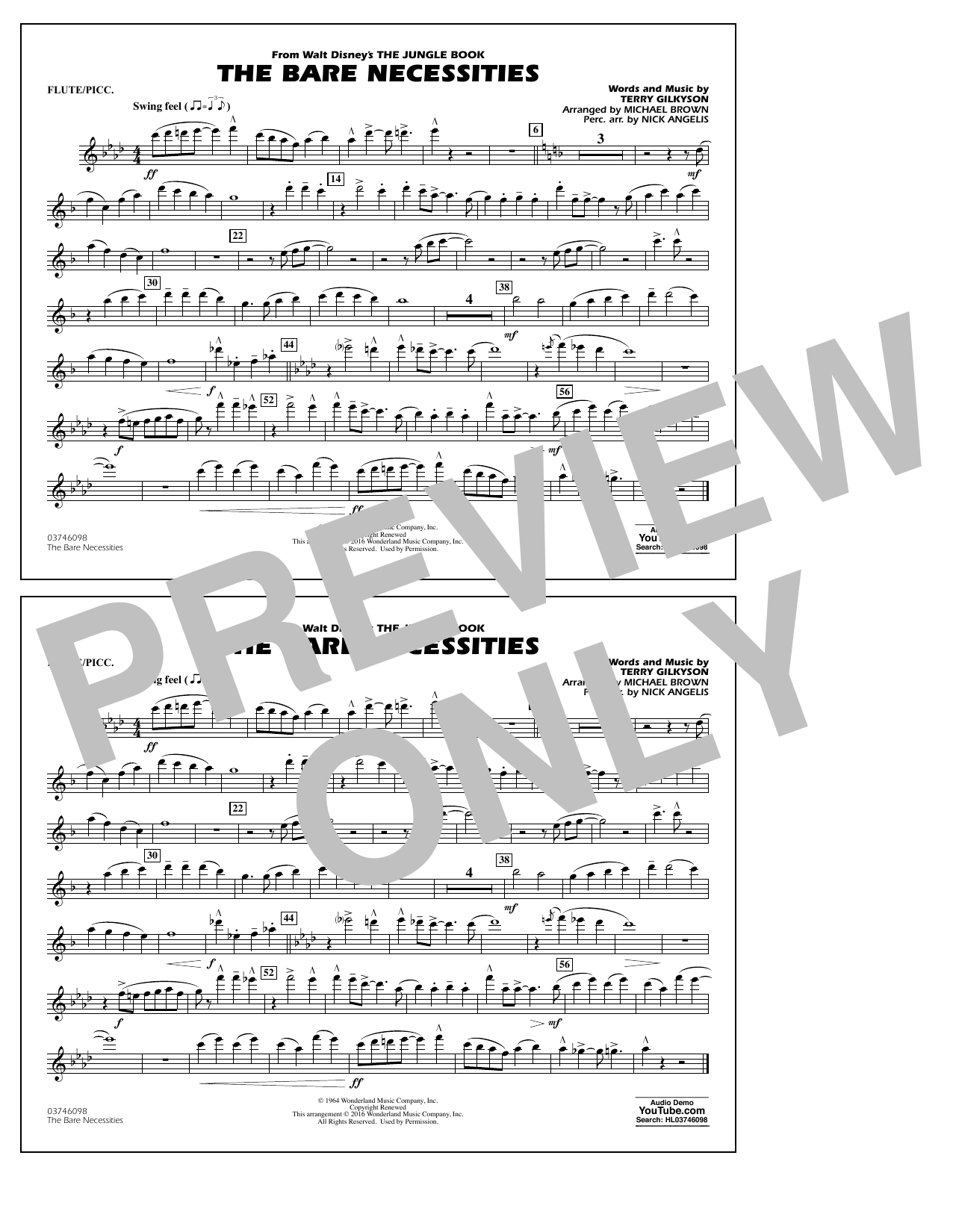 The Bare Necessities (from The Jungle Book) - Flute/Piccolo Sheet Music