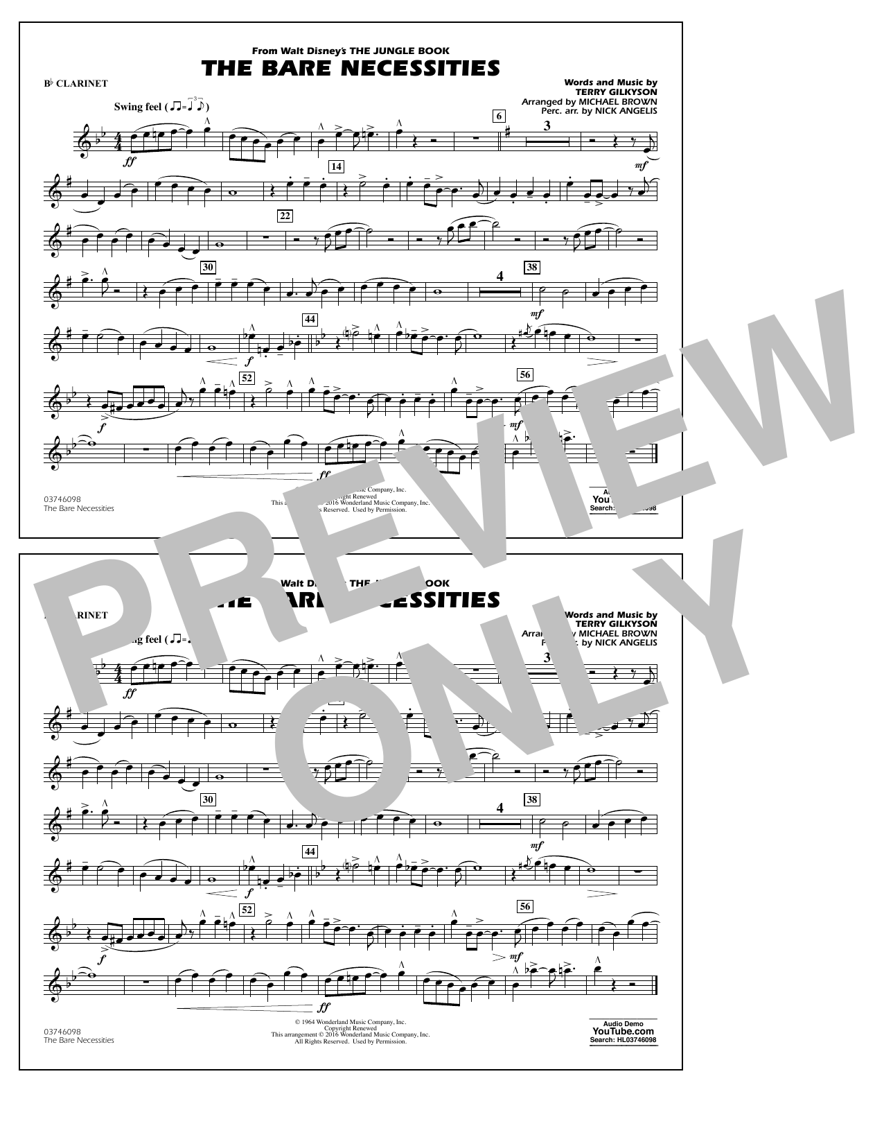 The Bare Necessities (from The Jungle Book) - Bb Clarinet Sheet Music