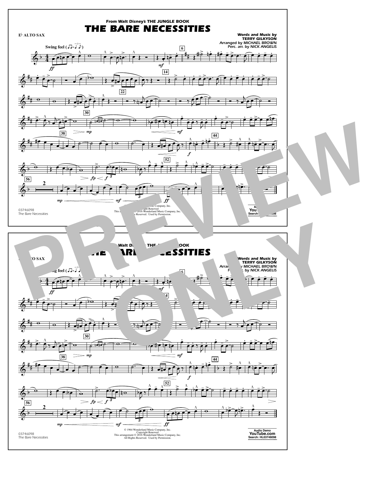 The Bare Necessities (from The Jungle Book) - Eb Alto Sax Sheet Music