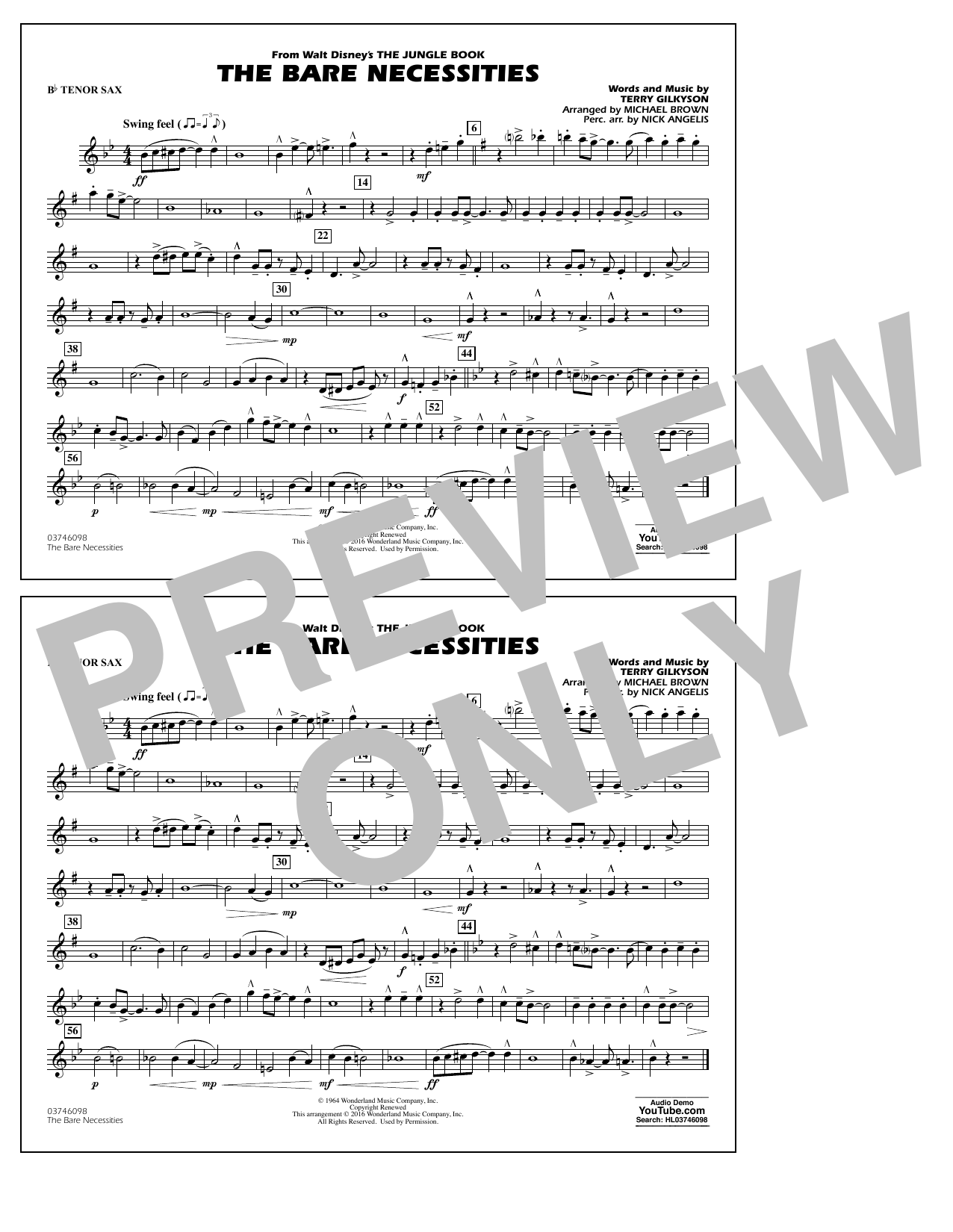 The Bare Necessities (from The Jungle Book) - Bb Tenor Sax Sheet Music
