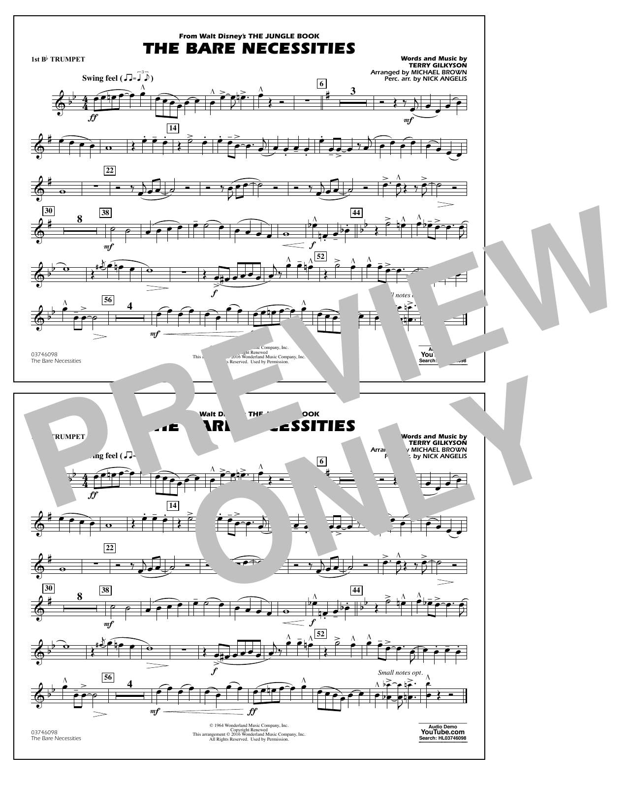The Bare Necessities (from The Jungle Book) - 1st Bb Trumpet Sheet Music