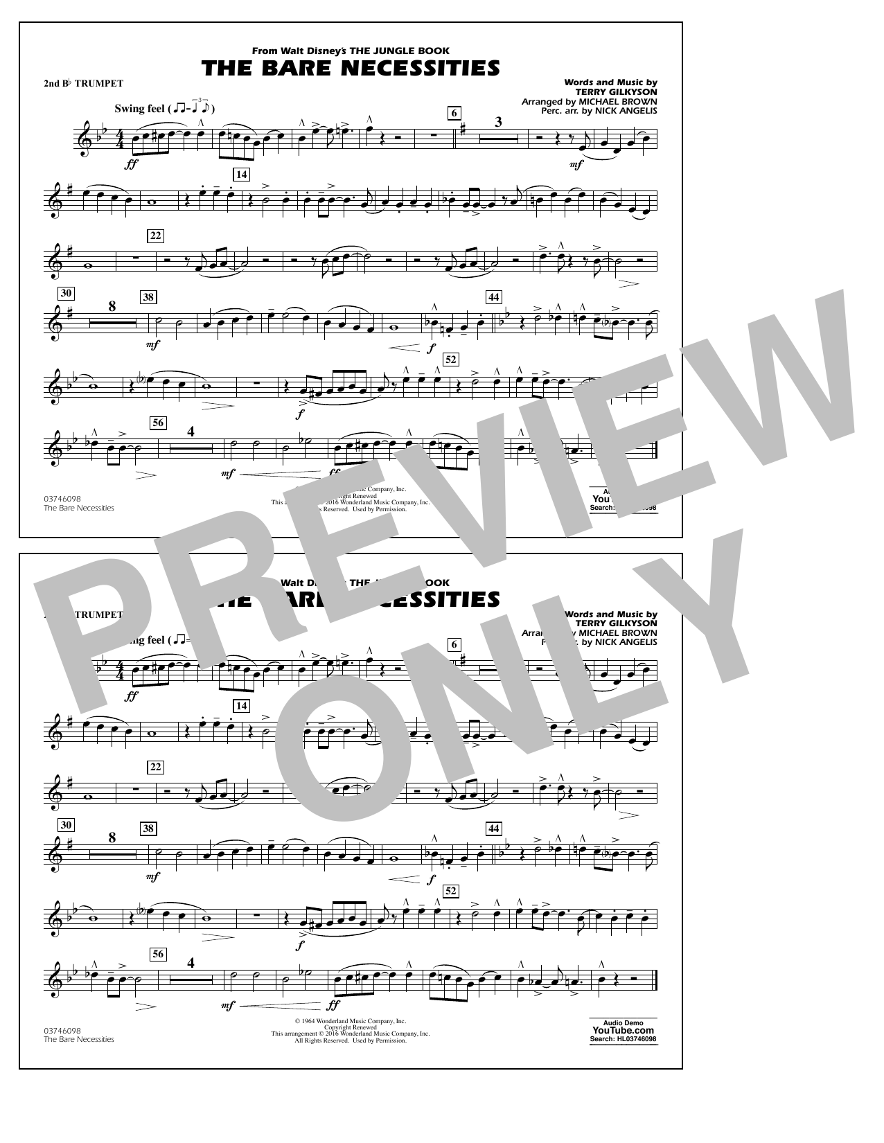 The Bare Necessities (from The Jungle Book) - 2nd Bb Trumpet Sheet Music