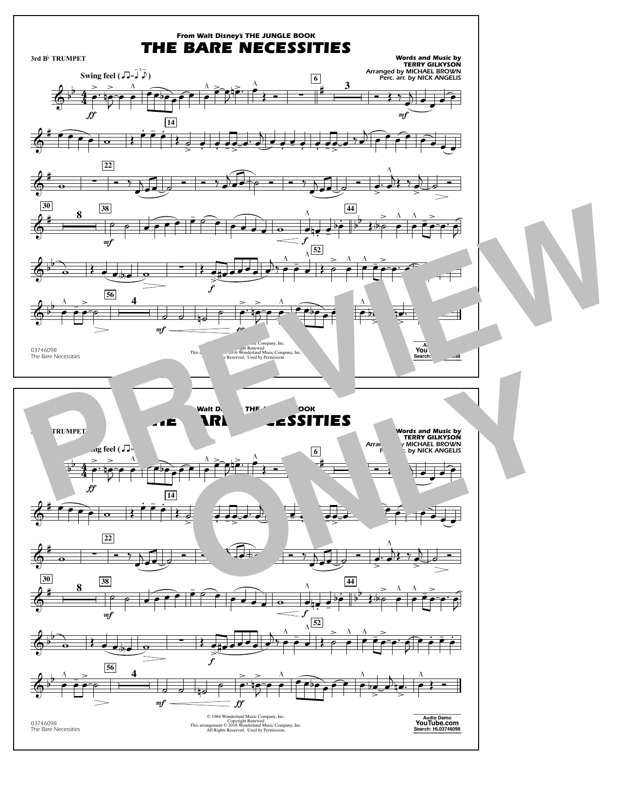 The Bare Necessities (from The Jungle Book) - 3rd Bb Trumpet Partituras Digitales