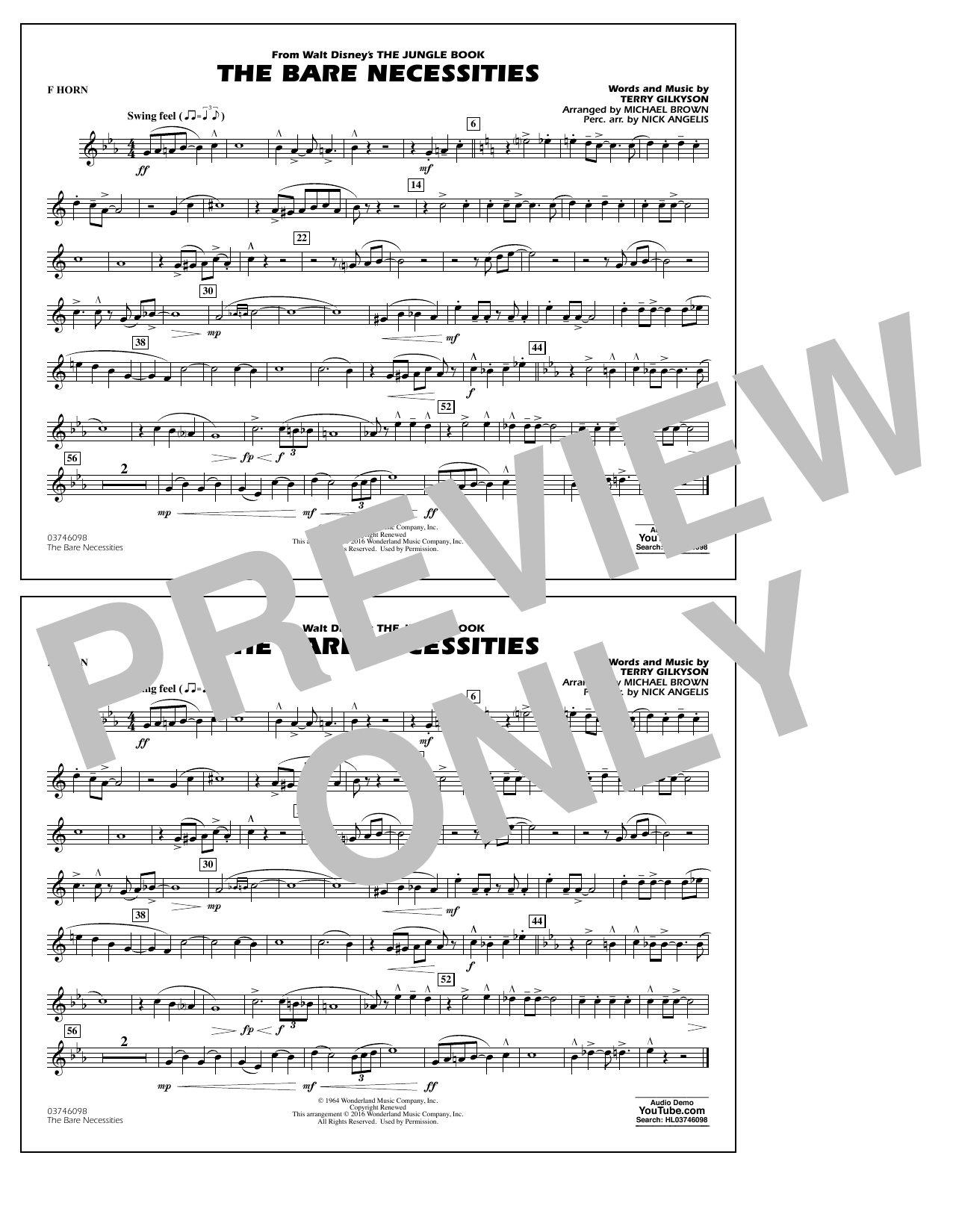 The Bare Necessities (from The Jungle Book) - F Horn Sheet Music