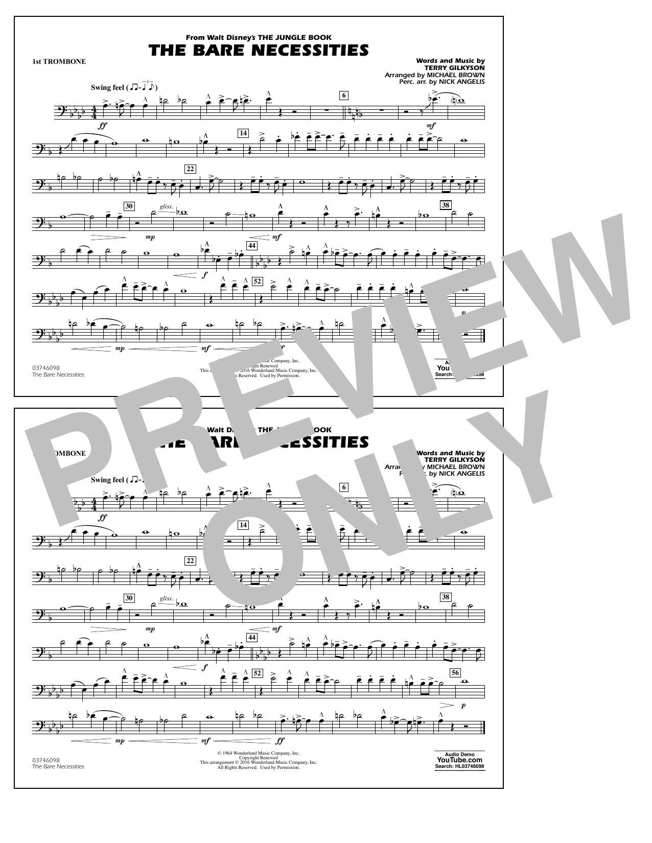 The Bare Necessities (from The Jungle Book) - 1st Trombone Sheet Music