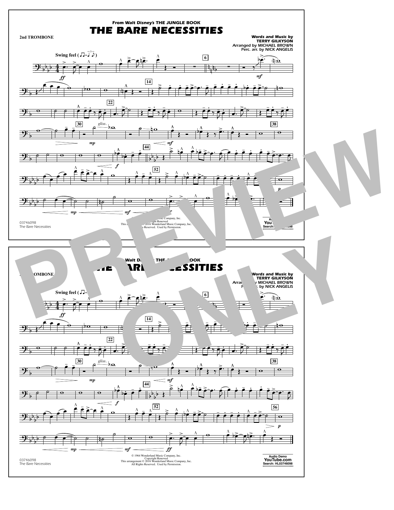 The Bare Necessities (from The Jungle Book) - 2nd Trombone Sheet Music