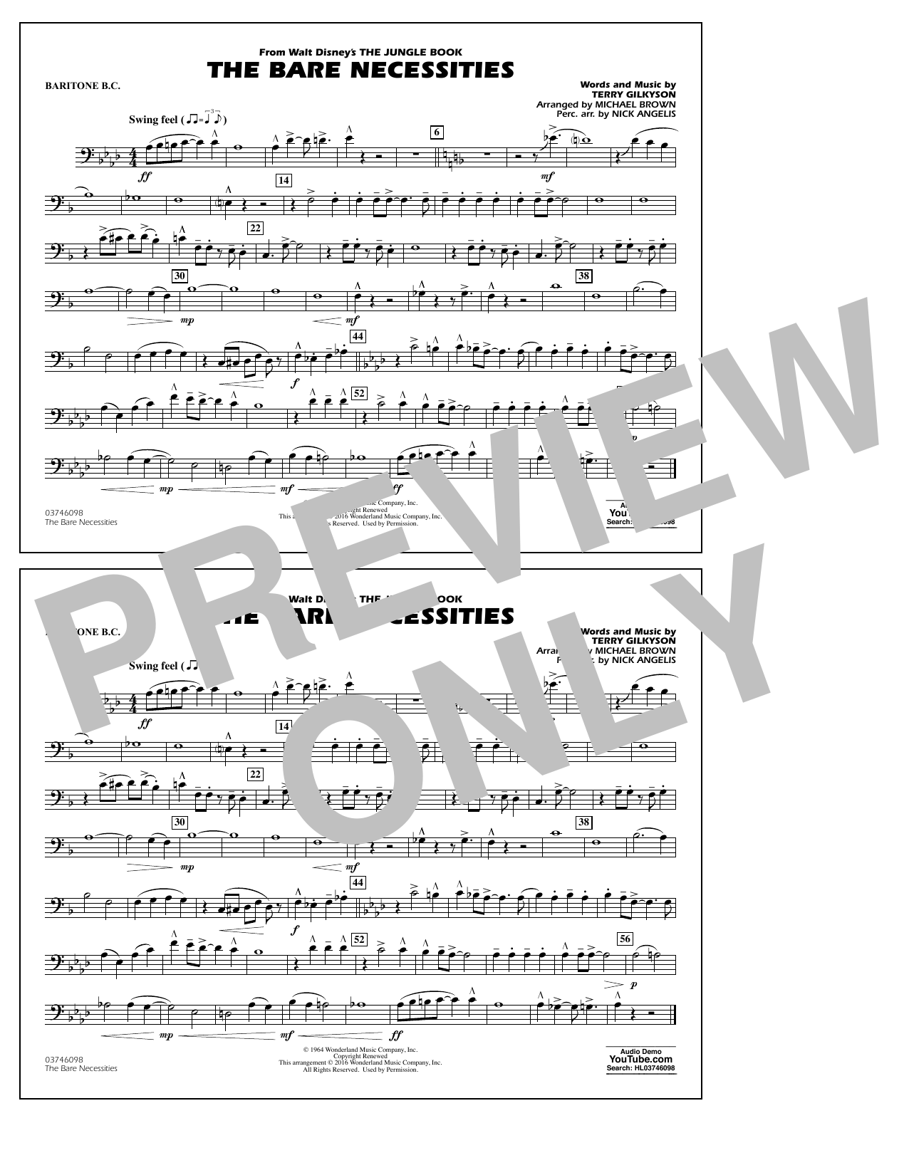 The Bare Necessities (from The Jungle Book) - Baritone B.C. Sheet Music