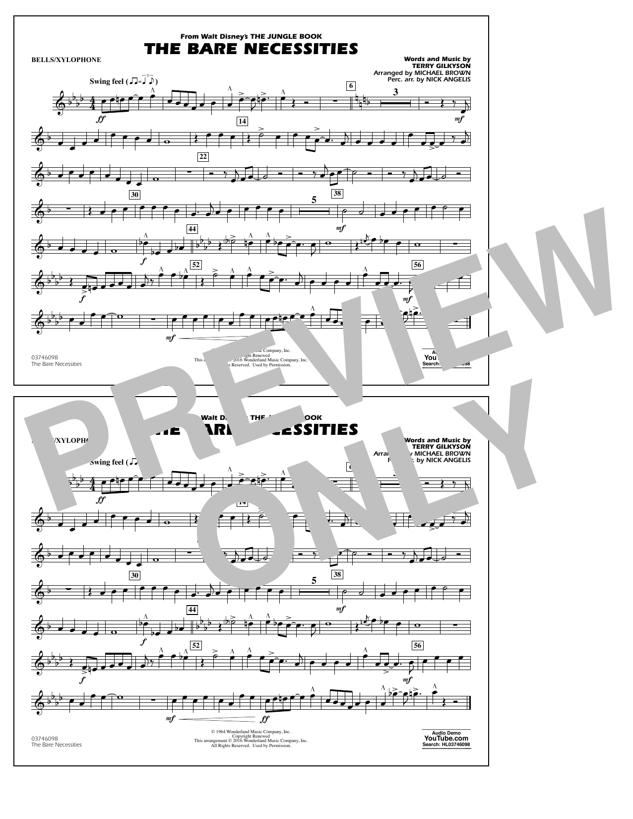 The Bare Necessities (from The Jungle Book) - Bells/Xylophone Sheet Music