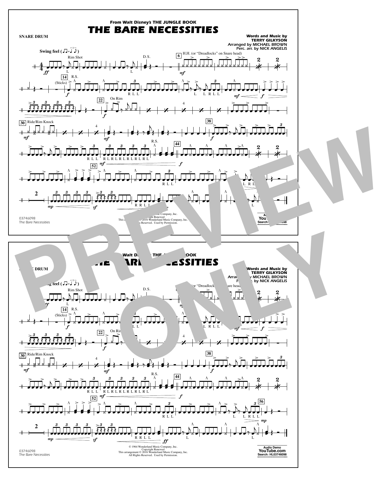 The Bare Necessities (from The Jungle Book) - Snare Drum Sheet Music
