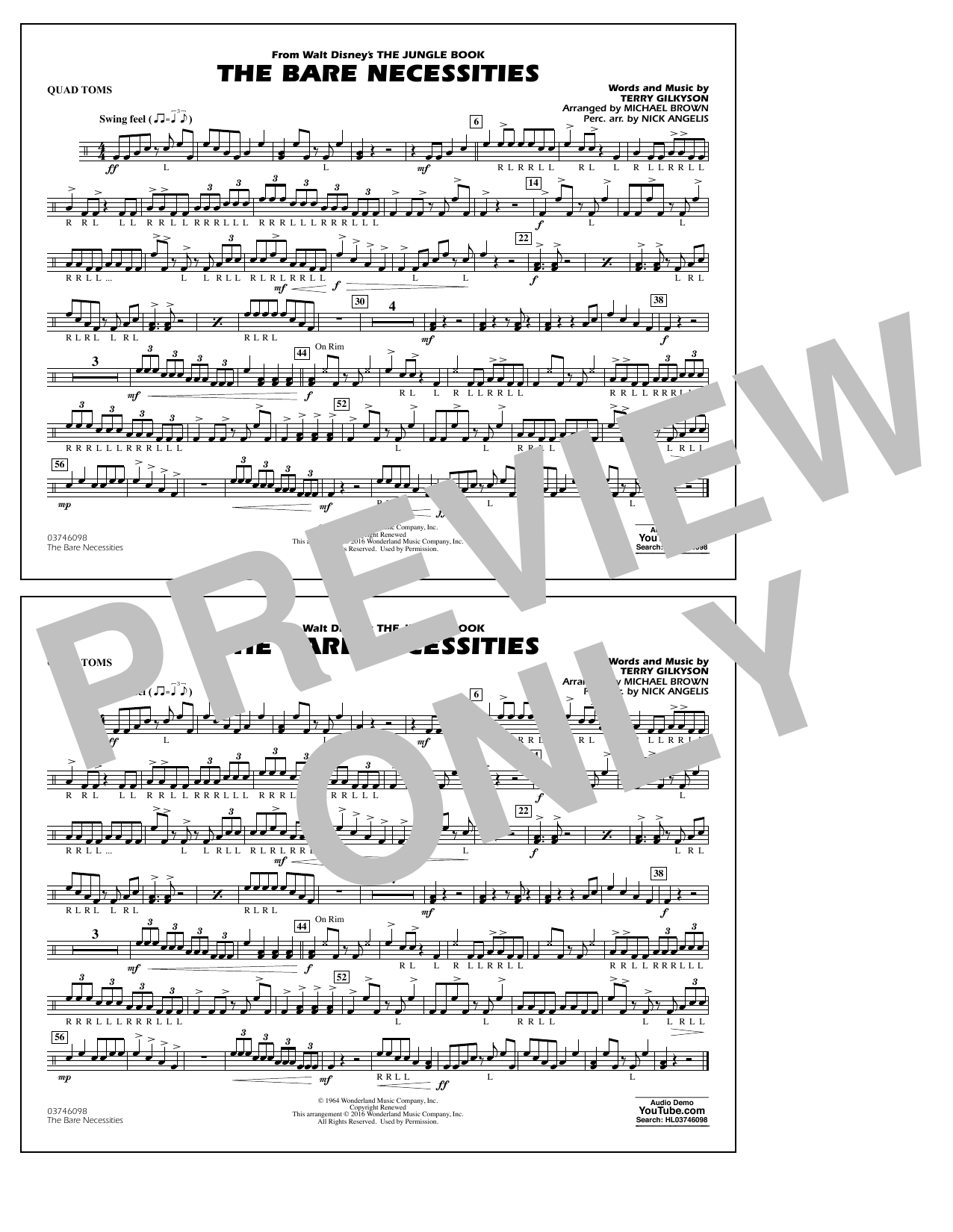 The Bare Necessities (from The Jungle Book) - Quad Toms Sheet Music