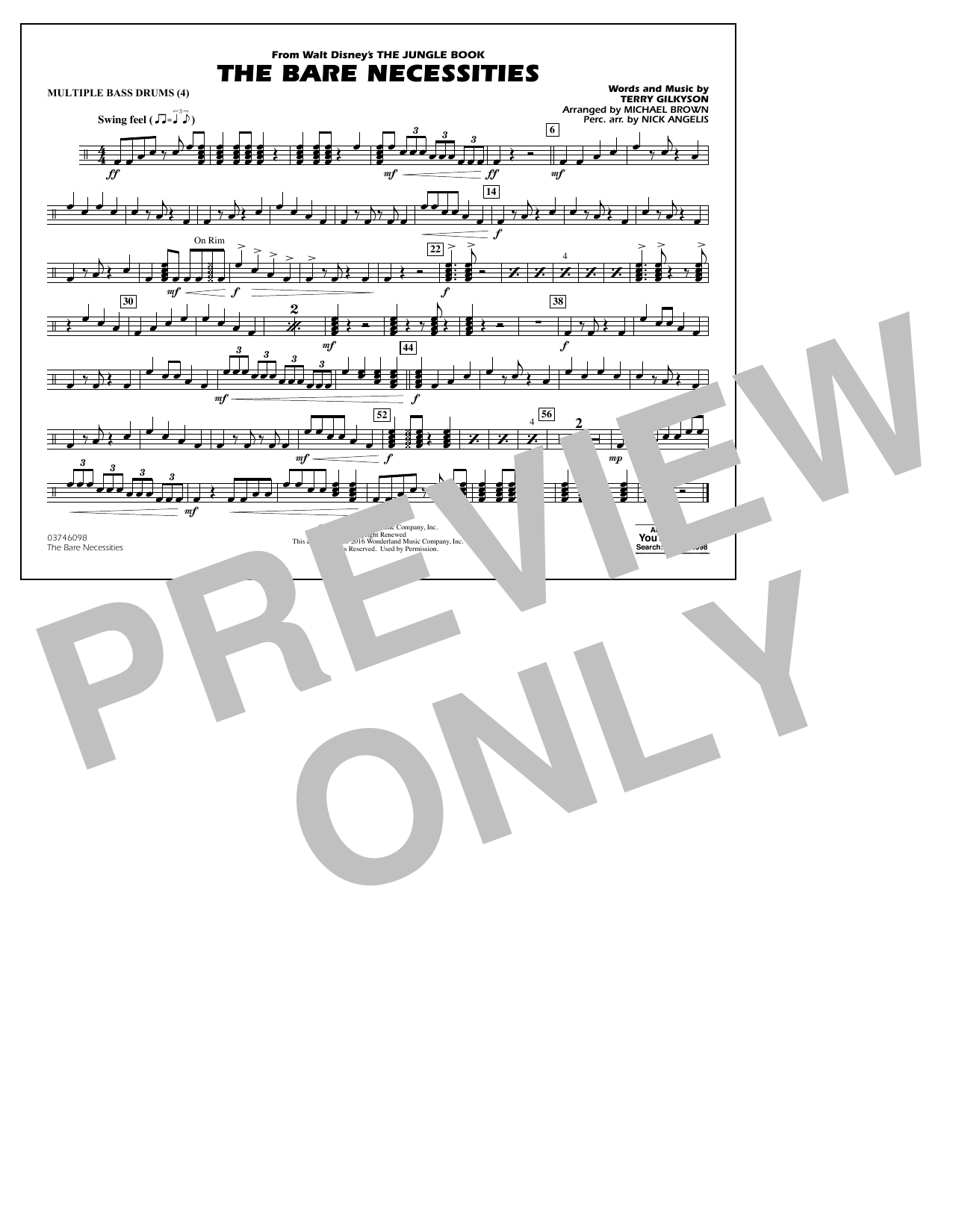 The Bare Necessities (from The Jungle Book) - Multiple Bass Drums Sheet Music